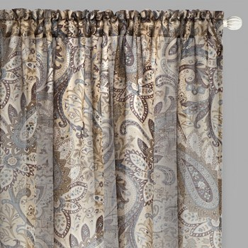 "84"" Floral Paisley Sheer Rod Pocket Window Curtains, Set of 2 view 1"