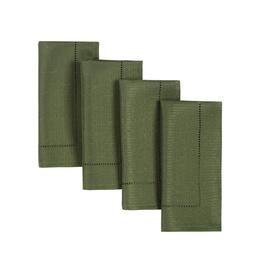 Solid Green Hemstitch Microfiber Napkins, Set of 4