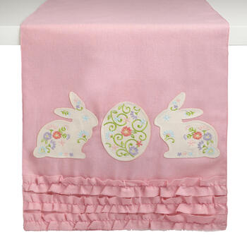 Bunnies and Egg Pink Ruffle Table Runner view 1