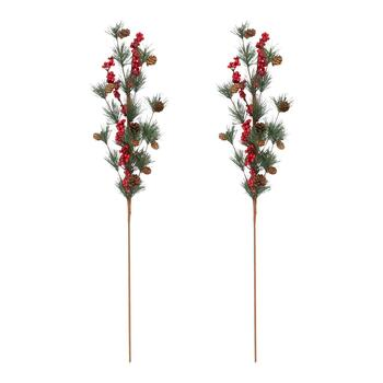 "33"" Pinecone and Berry Branches, Set of 2"