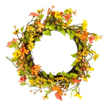 "21"" Orange Floral Twig Summer Wreath"