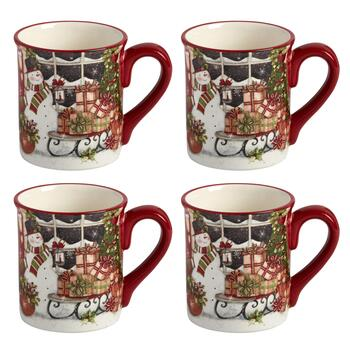 Snowman's Sleigh Ceramic Mugs, Set of 4