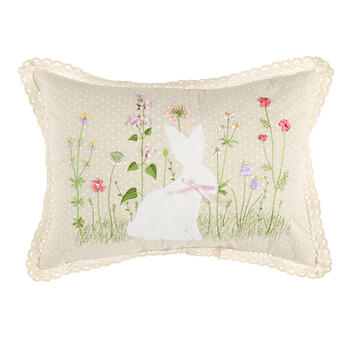 White Bunny and Flowers Polka Dot Oblong Throw Pillow view 1