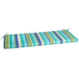 Green/Blue Striped Indoor/Outdoor Bench Seat Pad