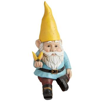 Yellow/Blue Gnome Sitting on a Mushroom
