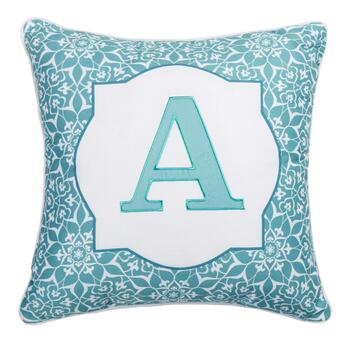 Floral Monogram Teal Square Throw Pillow