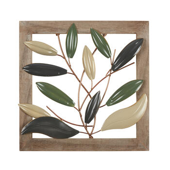 "15"" Layered Leaves Wood/Metal Framed Wall Decor view 1"