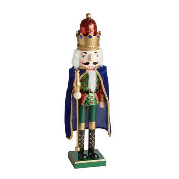 "26"" Blue/Green Cape Nutcracker King with Staff"