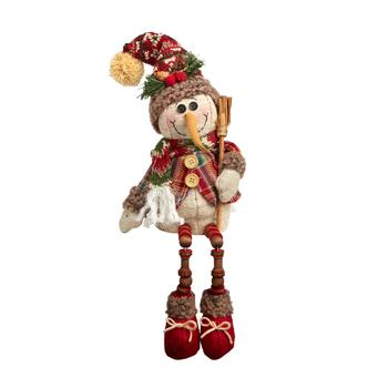 "16"" Broomstick Snowman Sitter with Dangling Wood Legs"