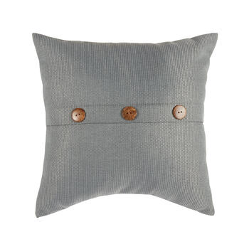 Solid Gray Woven Indoor/Outdoor 3-Button Square Throw Pillow view 1