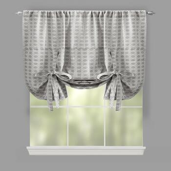 Traditions by Waverly® Gray Geo Checkered Tie-Up Window Shade