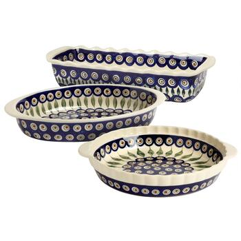 Polish Pottery Peacock Feathers Handmade Bakeware Collection