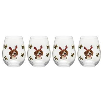 18 Oz Beagle With Antlers Stemless Wine Glasses Set Of 4 Christmas Tree Shops And That Home Decor Furniture Gifts Store
