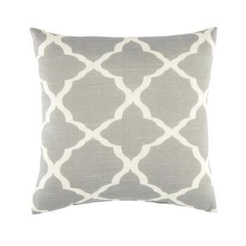 Gray Fretwork Square Throw Pillow view 1
