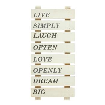 "12""x26"" ""Live Simply"" White Wood Ladder Wall Decor"