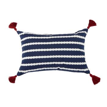 Coastal Living Seascapes™ Blue/White Stripe Tassel Oblong Throw Pillow