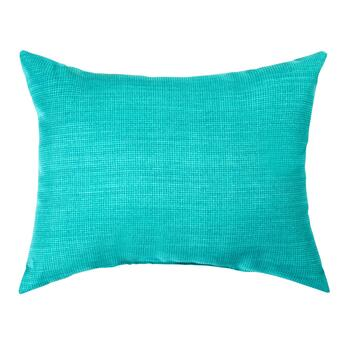 Solid Turquoise Indoor/Outdoor Oblong Throw Pillow