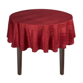 Solid Red Checkered Microfiber Tablecloth view 2