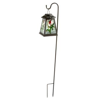 Hummingbird Stained Glass Solar Lantern