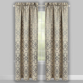 Gray Floral Ironwork Blackout Window Curtains, Set of 2 view 2