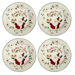 "Famous Maker ""Cookies for Santa"" Plates, Set of 4"