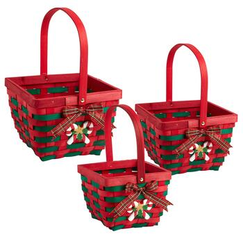 Red/Green Candy Cane and Bow Baskets, Set of 3