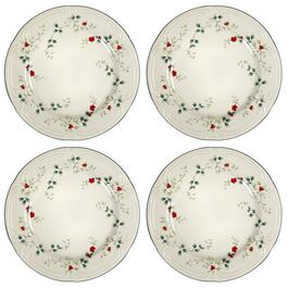 Famous Maker Winterberry Round Dinner Plates, Set of 4
