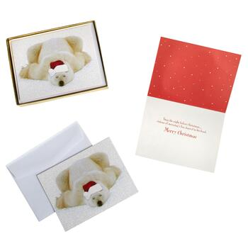 15-Count Glittered Polar Bear Holiday Cards, Set of 2