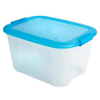 Clear Plastic Storage Container with Blue Locking Lid