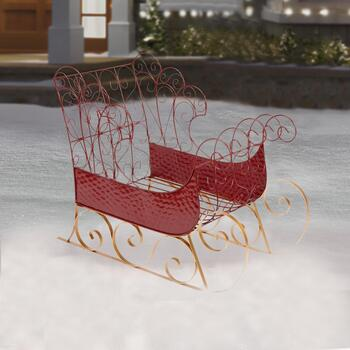 Red Decorative Metal Sleigh