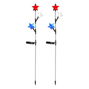 "34.5"" Red/White/Blue Star Solar Yard Stakes, Set of 2 view 1"