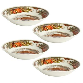 Harvest Turkey Ceramic Cereal Bowls, Set of 4 view 2