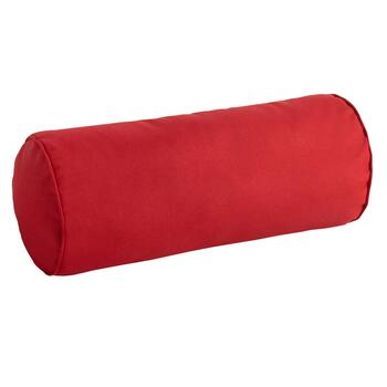 Solid Red Indoor/Outdoor Lumbar Roll Pillow