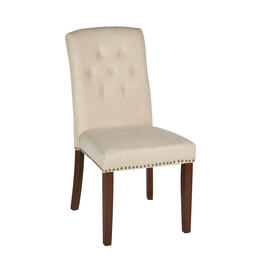 Solid Tufted Upholstery Parsons Chair with Nailheads view 1