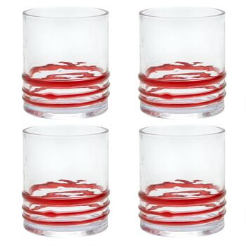 Red Bohemian Rings Acrylic DOF Glasses, Set of 4