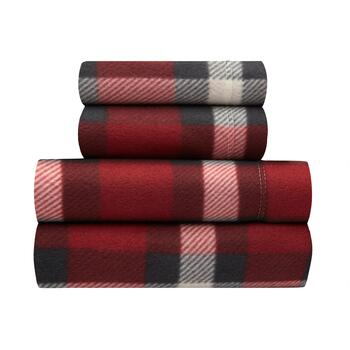 Sunbeam® Red Plaid Fleece Sheet Set