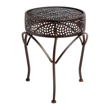 Copper Punched Metal Short Round Plant Stand view 1