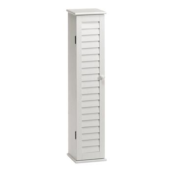 Tall White Louver Accent Cabinet