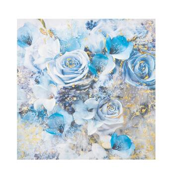 "30"" Floral Blue Roses Canvas Wall Art"
