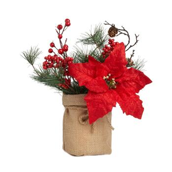 Red Poinsettia and Berries Artificial Plant in Burlap Sack