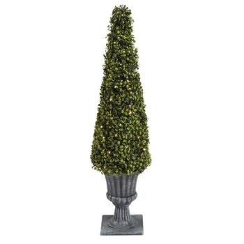 "36"" Cone Boxwood Topiary Tree with LED Lights"