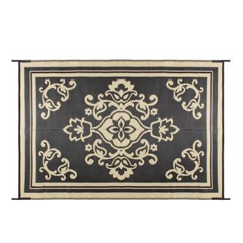Black/Beige Medallion Reversible All-Weather Patio Mat view 2