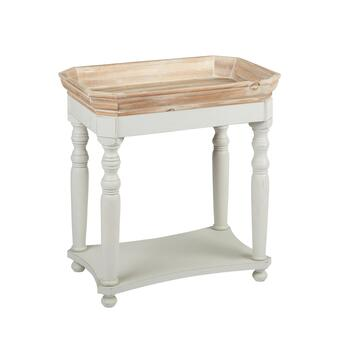 "24.25"" Brown/White Tray Wood Accent Table"