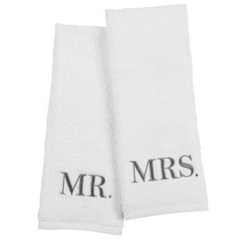 """Mr."" & ""Mrs."" Embroidered Hand Towels Set"