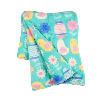 Turquoise Eggs and Chicks Plush Blanket view 1