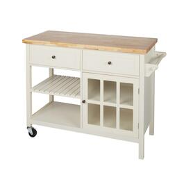 Cream 2-Drawer/1-Door Rolling Kitchen Island