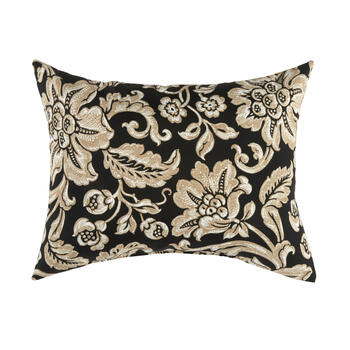 Black/Beige Floral Scroll Indoor/Outdoor Oblong Throw Pillow view 1