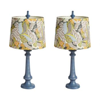 "28"" Colorful Leaves Print Shade Table Lamp, Set of 2"
