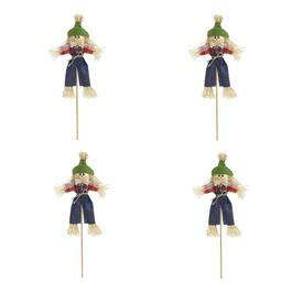 "13"" Scarecrow Boy with Denim Pants on a Stick, Set of 4"