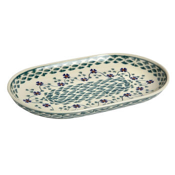 Polish Pottery Basketweave Handmade Oval Vegetable Bowl view 1